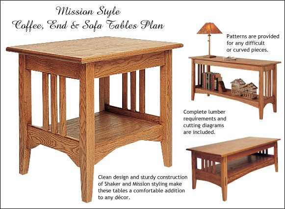 Mission Style Coffee, End and Sofa Table Plans
